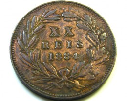 1884 20 REIS COIN FROM PORTUGAL    CO -235
