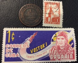 1878 RUSSIA 1 KOPEK  COIN  PLUS STAMPS   J573