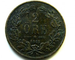 1861 SWEDEN 2 ORE COIN   J577
