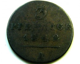 1842 A GERMANY 3 PFENNING   COIN   J580