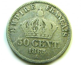 1864 FRANCE 50 CENTIMES   COIN   J588