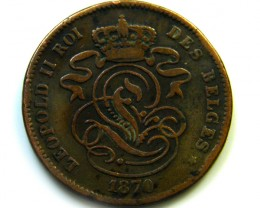 1870 BELGIUM 2 CENTIMES    COIN   J5
