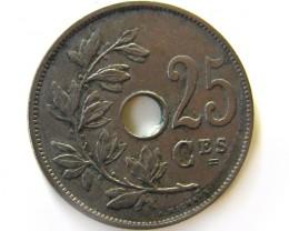 1927 BELGIUM 25 CES  COIN   COIN   J 601