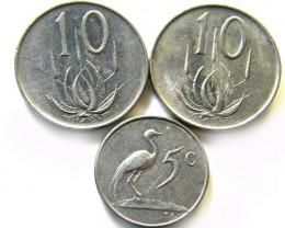 SOUTH AFRICA SET THREE 1965 COINS    J 602