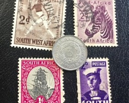 SOUTH AFRICA SILVER 3 PENCE 1923 COIN   plus stamps  J 608