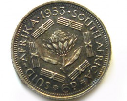 SOUTH AFRICA SILVER 6  PENCE1953  COIN   J 610