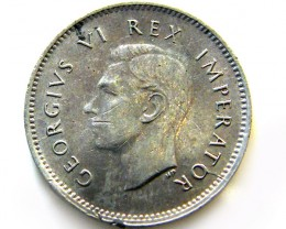 SOUTH AFRICA SILVER 3 PENCE1945   COIN   J 616