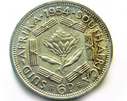 SOUTH AFRICA SILVER 6PENCE1954 COIN   J 620