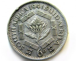 SOUTH AFRICA SILVER 3 PENCE 1941COIN  SOCCER SOCCER  J 621