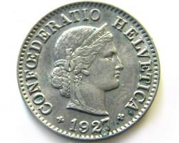 SWISS 5 CEMES   1927  COIN   J 624