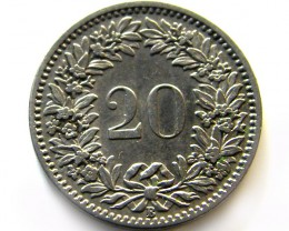 SWISS 20  CEMES   1908  COIN   J 625