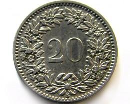 SWISS 20  CEMES   1908  COIN   J 625