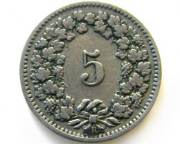 SWISS 5 CEMES  1910   COIN   J 626