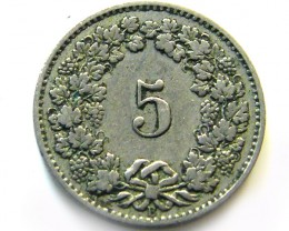 1881 SWISS 5 CEMES    COIN   J 630