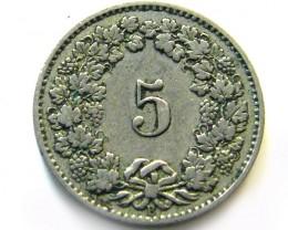 1881 SWISS 5 CEMES    COIN   J 630