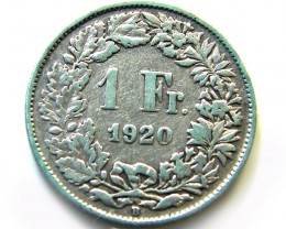 SWISS SILVER 1 FRANC 1920 COIN   J 632