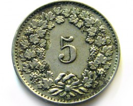 SWISS 5 CEMES  1921  COIN   J 636