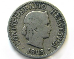 1883 SWISS 10CEMES    COIN   J 640