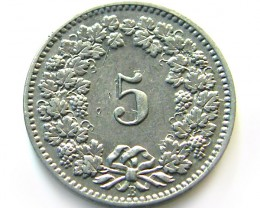 UNC  SWISS 5 CEMES 1904    COIN   J 643
