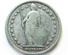 SILVER 1899 SWISS 1 FRANC SILVER    COIN   J 645