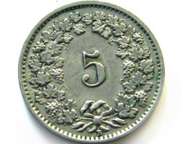 SWISS 5 CEMES  1925   COIN   J 647