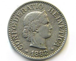 SWISS 10  CEMES   1882 COIN   J 651