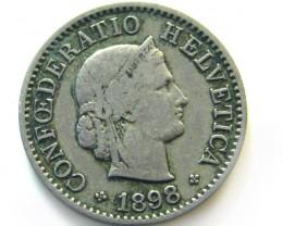 SWISS 5 CEMES  1898  COIN   J 652
