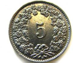 SWISS 5 CEMES   1939  COIN   J 655