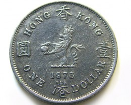 HONG KONG ONE DOLLAR 1973  COIN J659