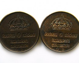 TWO SWEDEN 1935 1 ORE COINS J 666