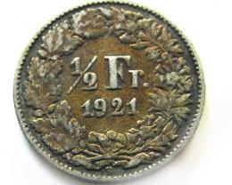 SWISS 1/2 FRANC .835 SILVER 1921    COIN   J 60