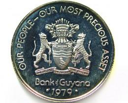 UNC GUYANA 1979 25 CENTS    COIN   J 687