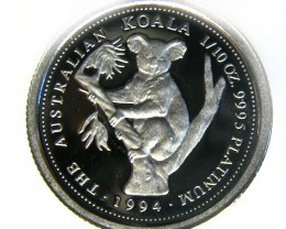 RARE PROOF 1994 1/10 OUNCE KOAL PLATINUM COIN  CO -240