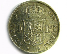 Spanish 4 reals silver coin Queen Isabel II 1858 CO -252