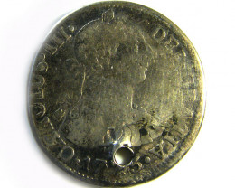 Spanish pierced silver coin king Carlos III 1773   CO -253
