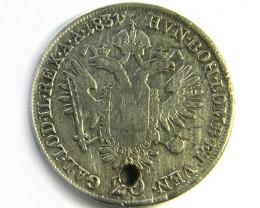 1831AUSTRIA SILVER 20 KREUZER COIN HOLED CO 256