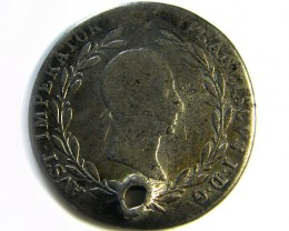 1830 AUSTRIA SILVER 20 KREUZER COIN HOLED CO 262