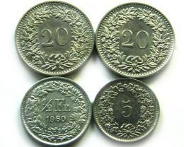 SWISS 4  COINS 1/2 ,5  2 X2 0 CEMES 1960-70   J 693