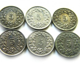 6  SWISS 5 CEMES    COIN  1888 - 1931 J 698