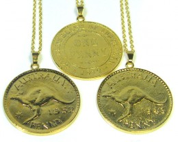 PARCEL THREE AUSTRALIAN ONE PENNY COIN NECKLACE  CO286