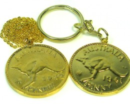 AUSTRALIAN ONE  PENNY COIN KEY RING N NECKLACE   CO 303
