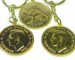 THREE AUSTRALIAN ONE  PENNY COIN KEY RING   CO 305
