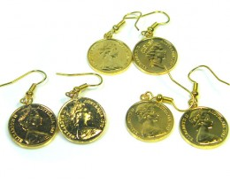 THREE SETS AUSTRALIAN ONE  CENT PAIR EARRINGS   CO 316