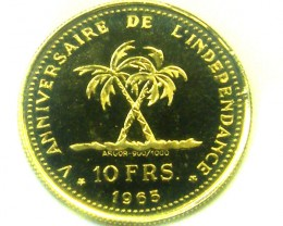 1965 GONGO PROOF 10 FRANS GOLD COIN    CO320