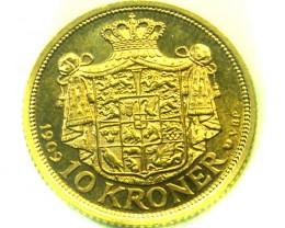1909 10 KRONER DENMARK  GOLD COIN    CO321