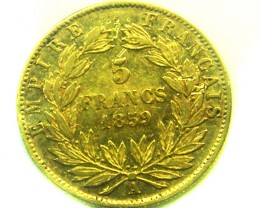 1859 FRANCE 5 FRANCS GOLD COIN    CO323