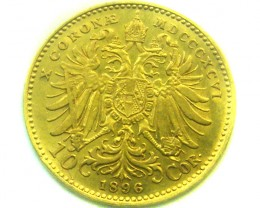 1896 AUSTRIA 10 CORONA GOLD COIN    CO334