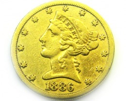 1886 $5.00 LIBERTY HEAD GOLD COIN    CO348