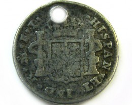 1802 HOLED SPANISH REAL   COIN    CO375
