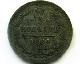 1884 RUSSIA 5 KOPEK COIN   CO 408